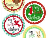 Baby's First Holidays Sticker Set- Monthly Milestone stickers- babys first birthday- first Valentines day seasonal holiday stickers- NEU100