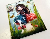 "ACEO ATC Artists Trading Card Little Girl Playing Violin in Wonderland Theme - ""Uma"" - Premium Fine Art Mini Print 2.5x3.5"