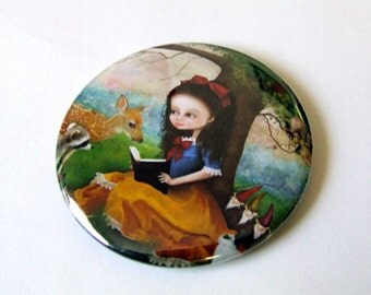 "Pocket Mirror - ""Snow White"" - Small Round Art Mirror featuring Fairy Tale Art by Jessica Grundy"