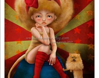 "5x7 Circus Art Print ""Ferocious"" Small Size Giclee Print of Original Artwork - Carnival Freak Lion Girl and Pomeranian Puppy"
