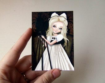 """ACEO ATC Artists Trading Card """"Simona and her Dreams II"""" Cute Blonde Girl With Retro Camera- Mini Giclee Print 2.5x3.5"""