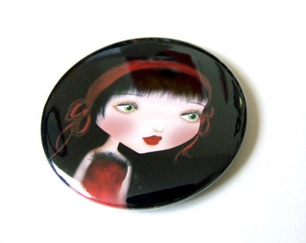 "Pocket Mirror ""The Maiden Without Hands"" 2 1/4"" Round Mirror Print of Original Artwork - Lowbrow Artwork Little Girl In Red and Black"
