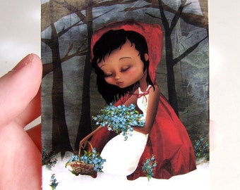 Red Riding Hood ACEO/ATC Mini Premium Giclee Print 2.5x3.5