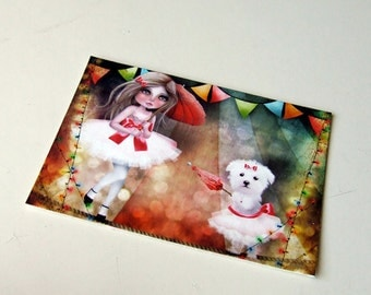 """ACEO ATC Artists Trading Card """"Asia and Snow at the Circus"""" Child Room Art - Mini Giclee Print 2.5x3.5 - Cute Tightrope Walker Girl"""