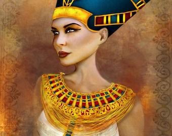 Nefertiti Portrait Sized 11x17 or 13x19 Medium Premium Giclee Fine Art Print - Ancient Egyptian Queen - Blue and Gold