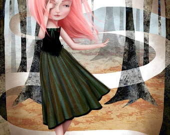 11x17 or 13x19 Large Sized Giclee Art Print by Jessica Grundy - Pink Haired Girl in the Woods