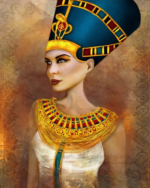 Nefertiti Portrait Sized 8.5x11 or 8x10 or 11x17 or 13x19 Medium Premium Giclee Fine Art Print - Ancient Egyptian Queen - Blue and Gold