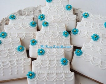 Custom Wedding Cake Cookies 1 dozen