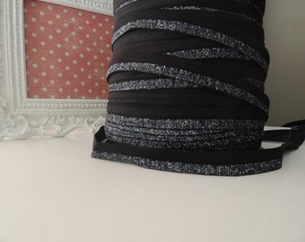 "5/8"" Inch Fold Over Elastic - 5 Yards Black and Blue Sparkle  FOE (Limited Edition)"