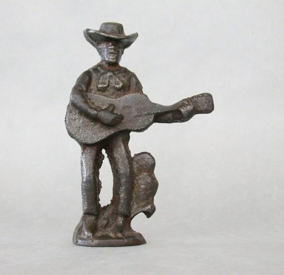 Rustic Iron Bottle Opener Cowboy w/ Guitar & Cactus
