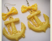 Large Old School plastic Pin Up- style Anchor Earrings with yellow bow