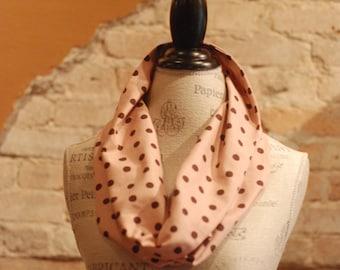 Cowl Circle Scarf Neckwarmer - Pink and Brown Linen Cotton Fabric - Fall Winter Fashion Accessory - Ladies Teens Tweens  - Custom Handmade