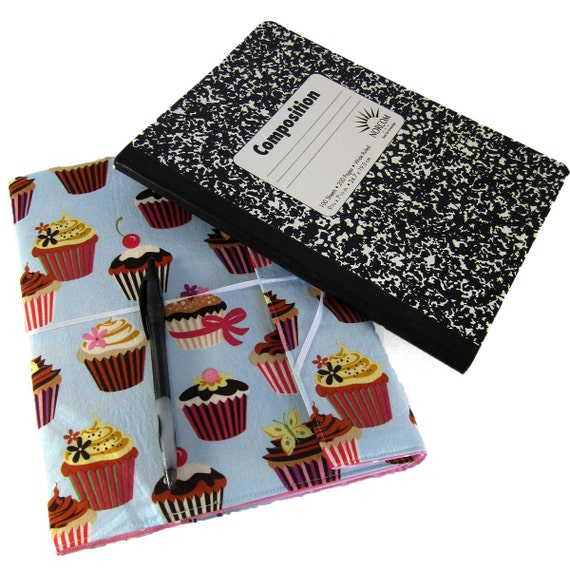 Reusable Fabric Book Cover : Cupcake reusable fabric covered composition by
