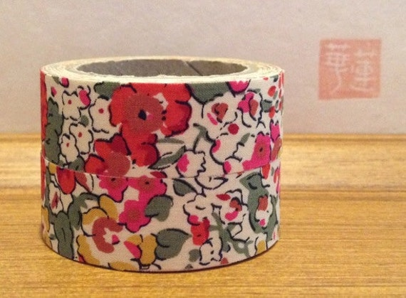 liberty of london tana lawn- fabric tape - set of 2 -claire-aude - red