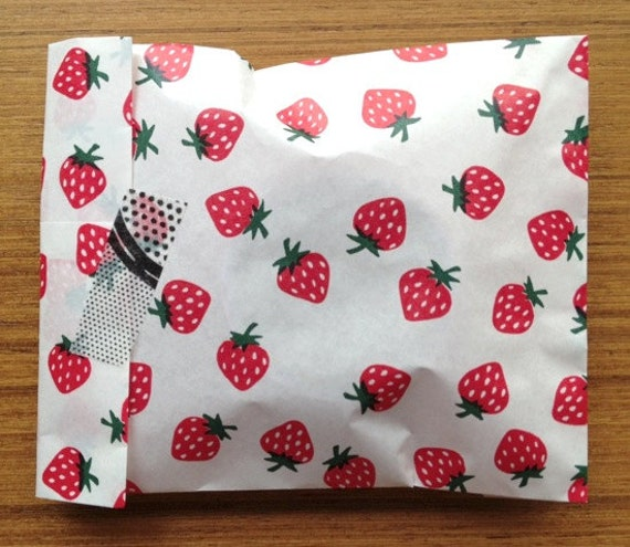 set of 10 - strawberry gift paper bags  - large