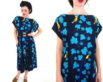 60s summer dress / cotton / La Mendola / bird print  8 / 10