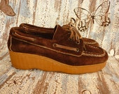 1970s Brown Suede Shoes with WAVE Platorm Wedge SZ 7