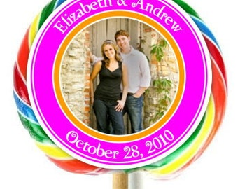 Photo Wedding Labels, Lollipop Stickers, Wedding, Bridal Decoration Stickers, Extra Large Personalized Stickers, Fit on WHIRLY LOLLIPOPS