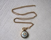 Vintage  Soviet Era Pendant Watch with Chain - Hand Pained Enamel - Finift - Reserved for T. O.