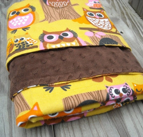 """Flannel & Minky Dot Blanket Yellow and Brown Silly Owls 36""""x30"""""""