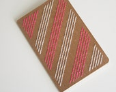 neon pink and white stripes stitched moleskine notebook, lined pages