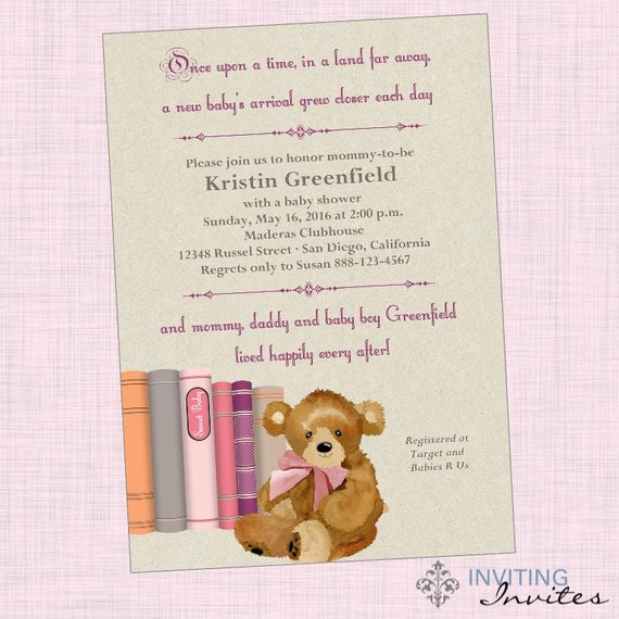 once upon a time girl baby shower invitation printable digital file
