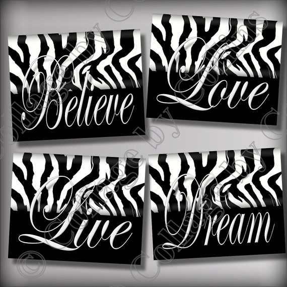 Zebra print wall art decor girls room teen dorm dream live for Room decor zebra print
