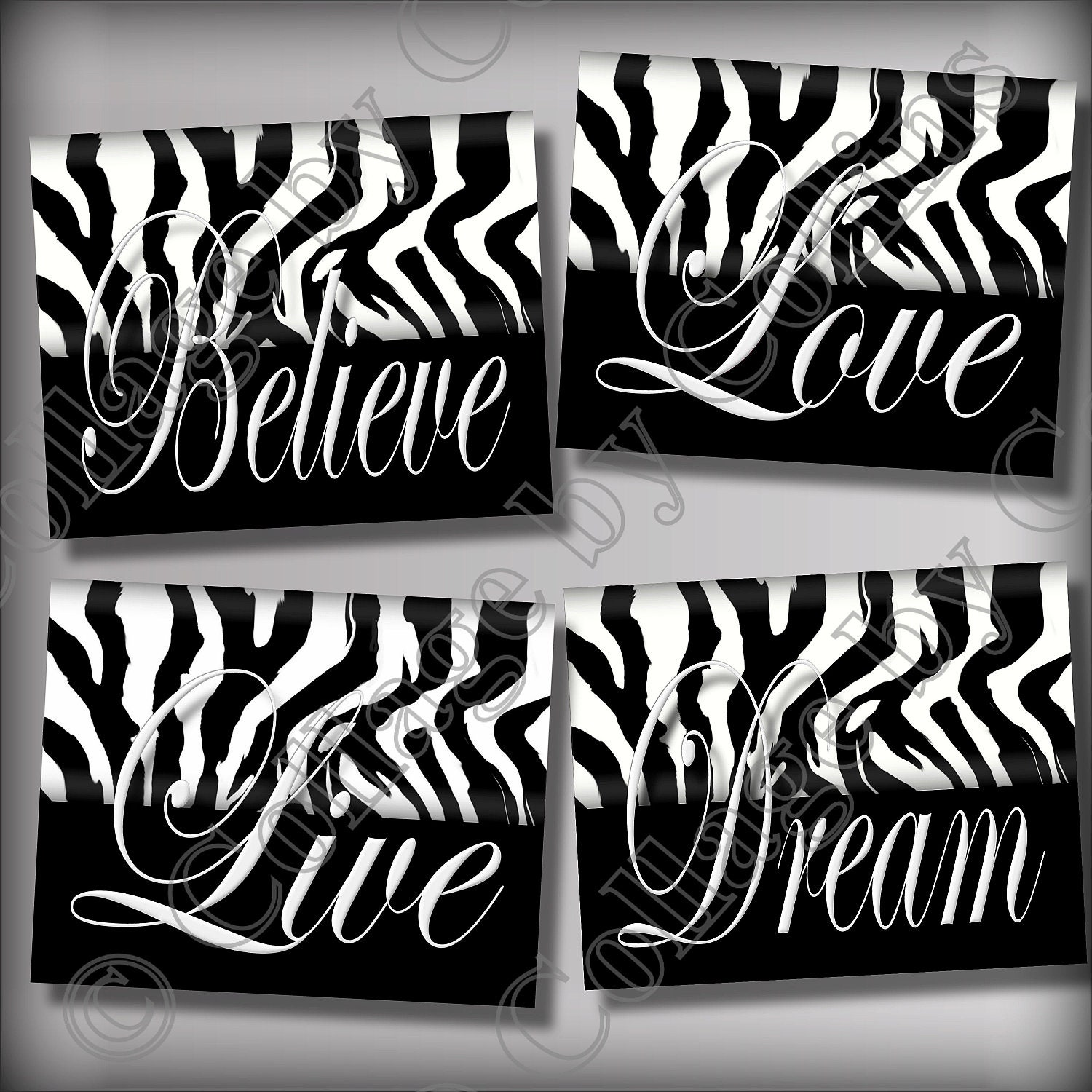 Zebra print wall art decor dream live love by collagebycollins for Decoration zebre
