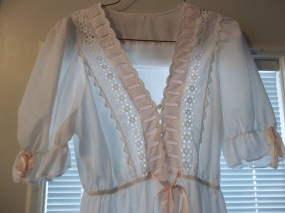Vintage Gilead White Eyelet Cotton Robe Gown with Puffed Sleeves Pink Ribbon