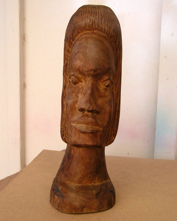 Vintage tribal wood carving statue hand carved by