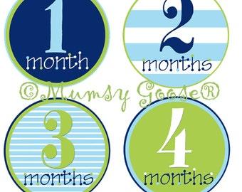 Baby Boy Stickers Baby Months Stickers Boy Month Milestone Stickers  Blue Green Nautical Boy Age Stickers Great Newborn Photo Prop