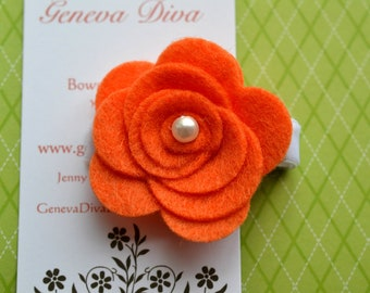 Orange Felt Rosette Hairclip