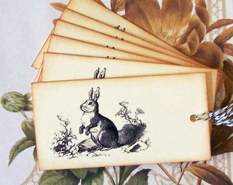 Tags Bunny Vintage Style Gift Tags Party Favor Easter Treat Bag Tag Handmade T062