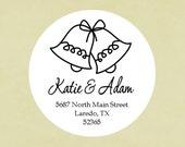 Return address labels, stickers, tags, envelope seals, round--Wedding Bells