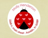 Return address labels, stickers, tags, envelope seals, round--ladybug