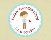Valentine's Stickers, favors, tags, envelope seals, round-- Valentine Boy