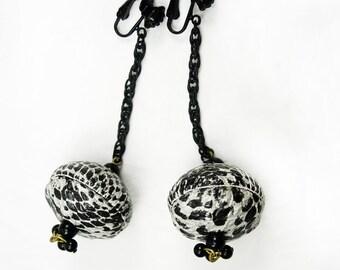 Vintage Funky Serpent snake earrings Shoulder duster dangles