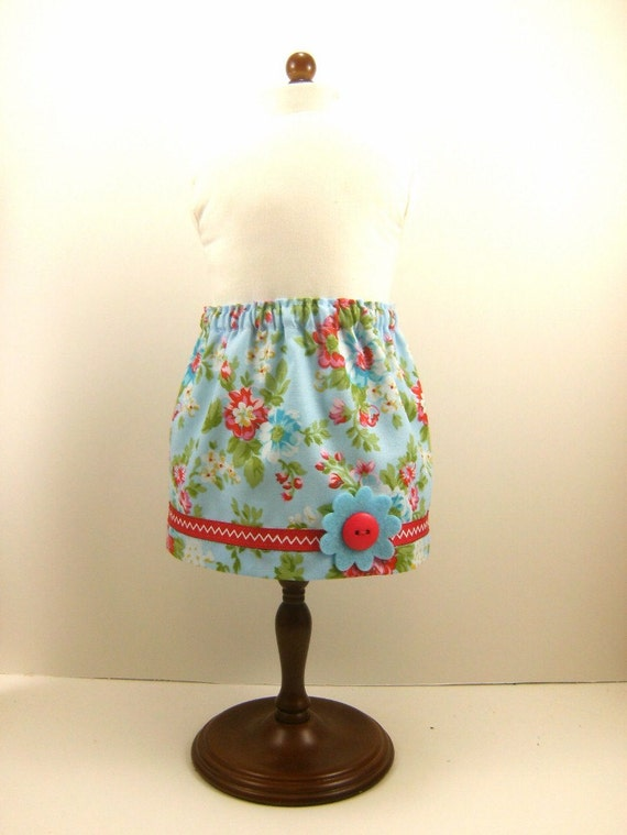 Made For American Girl Doll Skirt For 18 Inch Doll Clothes Sweet Floral Skirt  With Trim Girls Toy