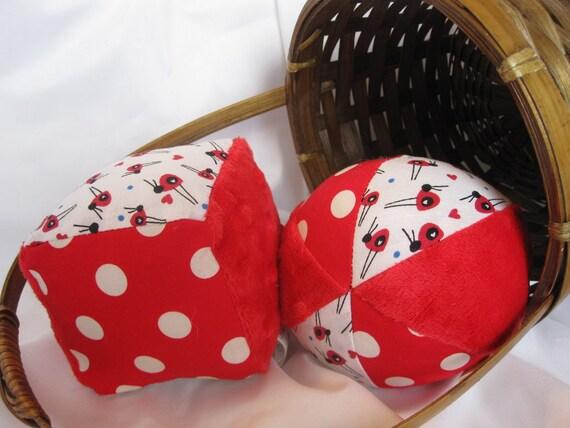 Baby Toys Cloth Jingle Block and Ball Set with LADYBUG fabric and Minky