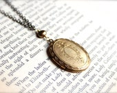 Long Victorian Picture Locket - Antique Locket Oval Brass