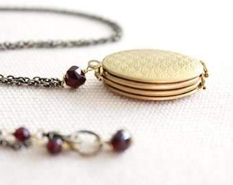Locket - Accordion Style in Antique Brass holds four photos, for her, for mom, wedding