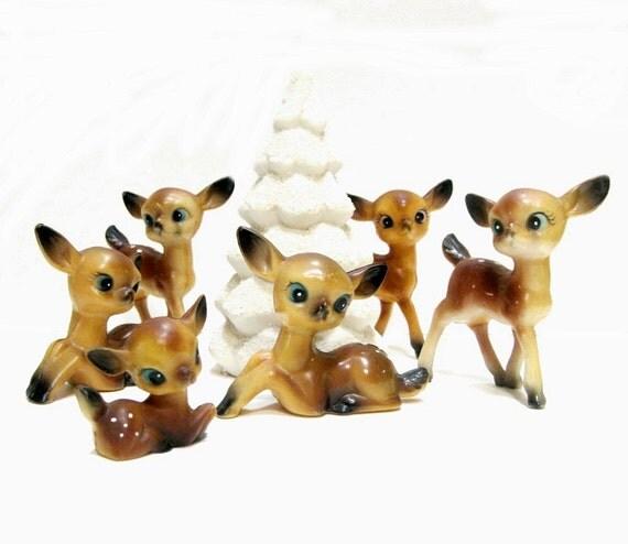Vintage Celluloid Deer Set Xmas Decor 1950s 1960s