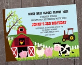 Farm Birthday Invitation - Barn Animals, Pig, Chicken, Sheep and Cow