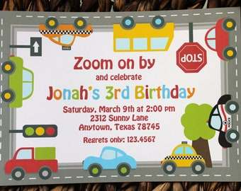 Traffic Jam Birthday Invitations