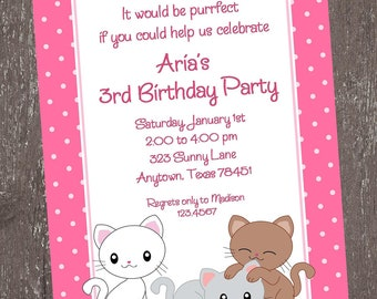 Kitten Birthday Invitation