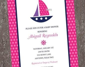 Pink Nautical Baby Shower Invitations