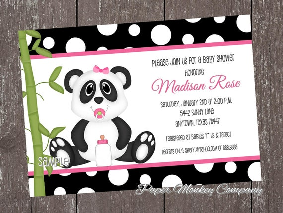 panda bear baby shower invitations blue or pink by pmcinvitations