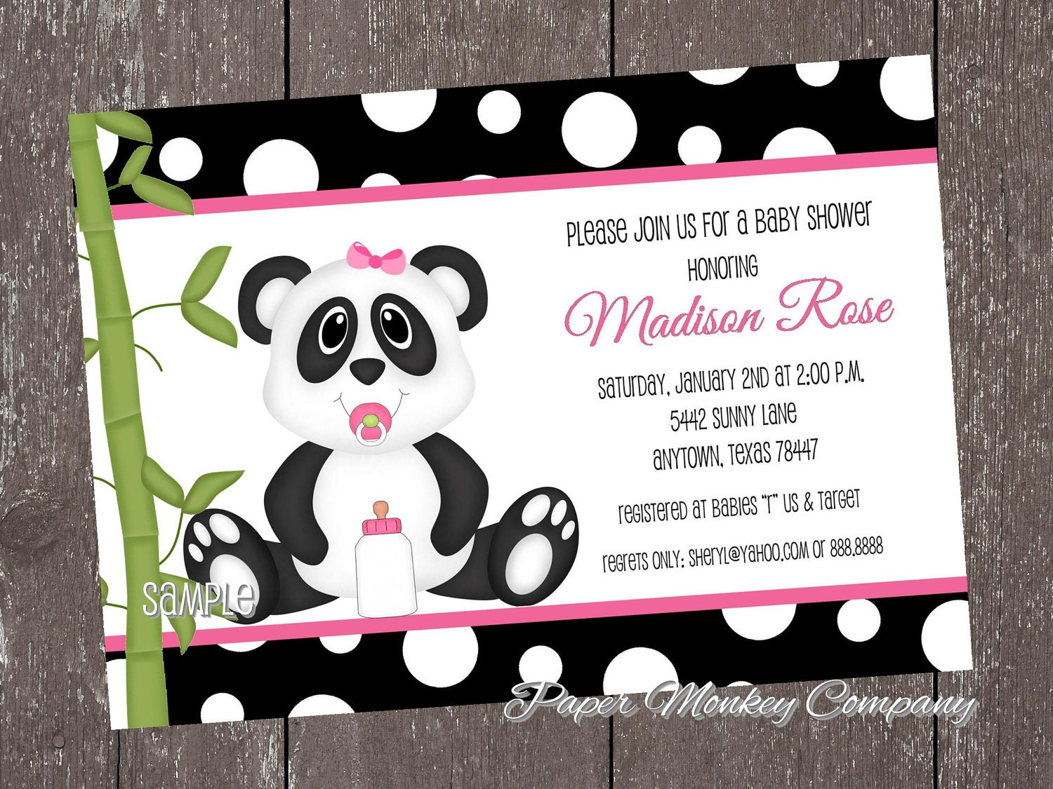 Panda Bear Baby Shower Invitations blue or pink