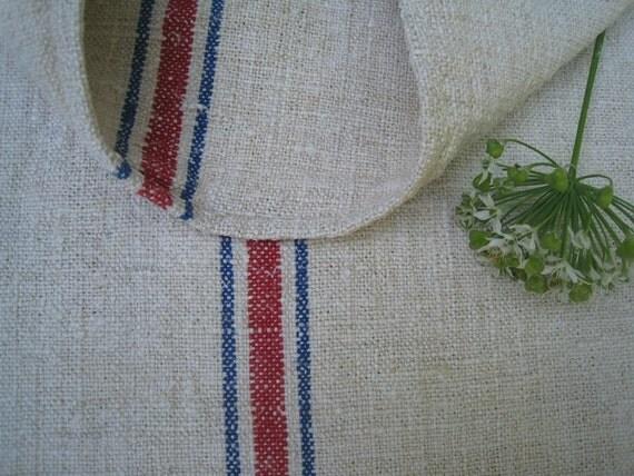 antique grain sack cushion tablerunner upholstery BLUE RED elegant