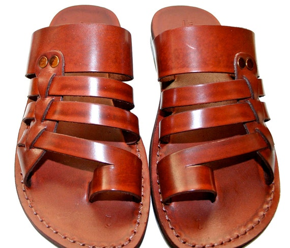 Brown Skate Leather Sandals for Men & Women - Handmade Unisex Sandals, Flip Flop Sandals, Jesus Sandals, Brown Leather Sandals